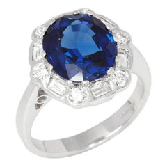 Certified 5.21ct Unheated Burmese Sapphire and Diamond 18ct gold Ring