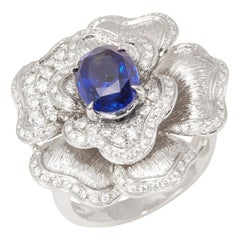 Certified 3ct Sapphire and Diamond 18ct Gold Ring