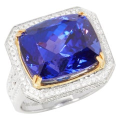 David Jerome 18 Karat White Gold Tanzanite and Diamond Ring