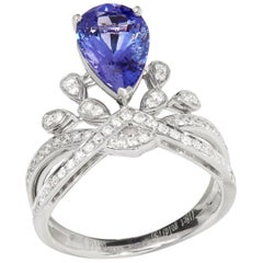 Certified 2.7ct Pear Cut Tanzanite and Diamond 18ct gold Ring