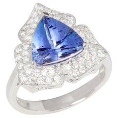 Certified 3.31ct Trillion cut Tanzanite and Diamond 18k gold Ring