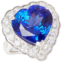 Certified 15.44ct Heart Cut Tanzanite and 18k gold Diamond Ring