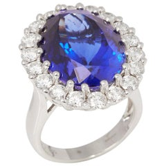 Certified 19.98ct Tanzanite and Diamond 18ct gold Ring