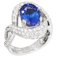 Certified 3.44ct Tanzanite and Diamond 18ct gold Ring