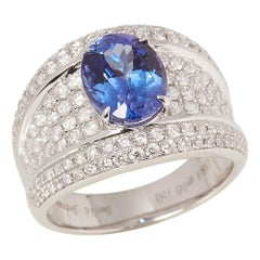 Certified 2.87ct Oval Cut Tanzanite and Diamond 18ct gold Ring