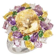 David Jerome 18 Karat White Gold Yellow Sapphire and Diamond Ring