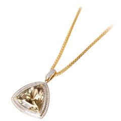 David Jerome 18 Karat Yellow Gold Zultanite and Diamond Pendant