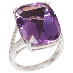 David Jerome 18 Karat White Gold Amethyst and Diamond Ring