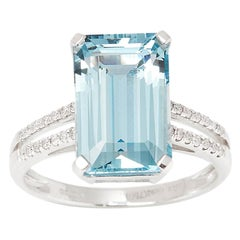 Certified 5.22ct Emerald Cut Aquamarine and Diamond 18ct Gold Ring