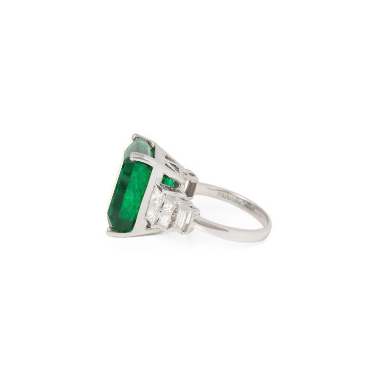 Emerald Cut David Jerome 18 Karat White Gold Emerald and Diamond Ring For Sale