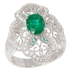 Certified 1.72ct Oval cut Emerald and Diamond 18ct gold Ring