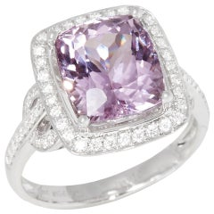 Certified 5.69ct Cushion Cut Kunzite and Diamond 18ct gold Ring