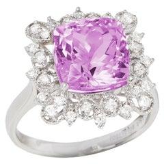 Certified 5.91ct Cushion Cut Kunzite and Diamond 18k gold Ring