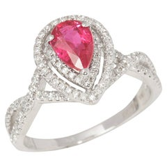 Certified 1.02ct Untreated Burmese Pear Cut Ruby and Diamond 18ct gold Ring