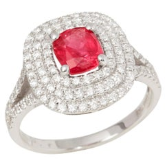 Certified 1.5ct Untreated Cushion Cut Ruby and Diamond 18ct gold Ring