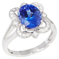 Certified 3.71ct Oval Cut Tanzanite and Diamond 18ct gold Ring