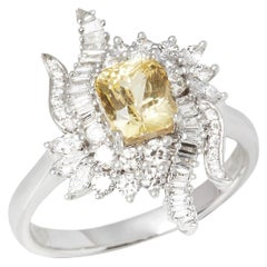 Certified 1.57ct Octagon Cut Unheated Yellow Sapphire and Diamond 18ct Gold Ring