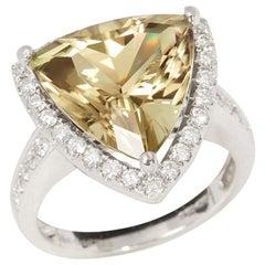 Certified 8.28ct Untreated Turkish Trillion Cut Zultanite and Diamond 18ct gold