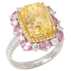 18ct White Gold Yellow Sapphire, Diamond and Pink Sapphire Cluster Ring