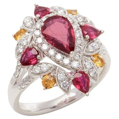 David Jerome Certified 1.03ct Untreated Mozambique Ruby Pear Cut Cluster Ring
