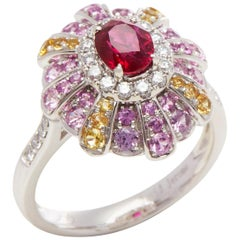 David Jerome Certified 1.04ct Untreated Mozambique Ruby Oval Cut Cluster Ring