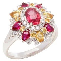 David Jerome Certified 1.07 Untreated Mozambique Ruby Oval Cluster Ring
