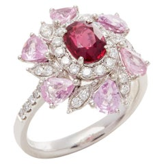 David Jerome Certified 1.08 Carat Untreated Mozambique Ruby Oval Cluster Ring