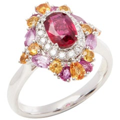 David Jerome Certified 1.11 Carat Untreated Mozambique Ruby Oval Cluster Ring