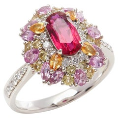 David Jerome Certified 1.15 Carat Untreated Mozambique Ruby Oval Cluster Ring