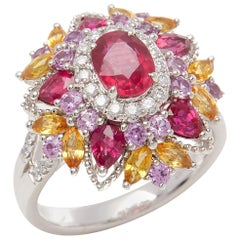 David Jerome Certified 1.17 Carat Untreated Mozambique Ruby Oval Cluster Ring