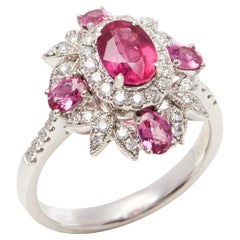 David Jerome Certified 1.19 Carat Untreated Mozambique Ruby Oval Cluster Ring