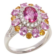 Platinum Ruby, Diamond and Mixed Sapphire Cluster Ring