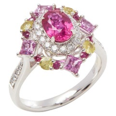 David Jerome Certified 1.30 Carat Unteated Mozambique Ruby Oval Cluster Ring