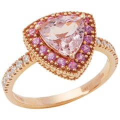 David Jerome Certified 1.49 Carat Trilliant Cut Pink Morganite and Diamond Ring