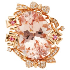 18ct Rose Gold Morganite, Diamond and Pink Sapphire Cluster Ring