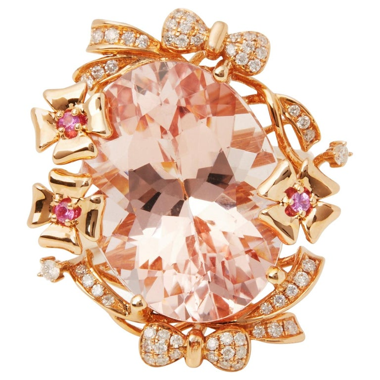 David Jerome Certified 15.93 Carat Untreated Oval Cut Brazilian Morganite Ring For Sale