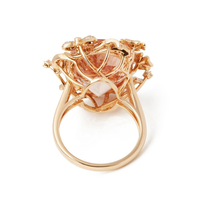 David Jerome Certified 15.93 Carat Untreated Oval Cut Brazilian Morganite Ring In New Condition For Sale In Bishop's Stortford, Hertfordshire