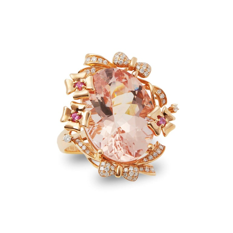 David Jerome Certified 15.93 Carat Untreated Oval Cut Brazilian Morganite Ring For Sale 2