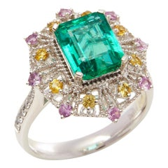 Platinum Emerald,Diamond and Mixed Sapphire Cluster Ring