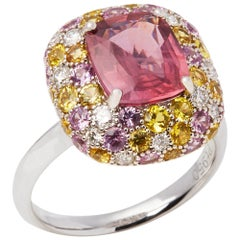 David Jerome Certified 3.10 Carat Untreated Padparadscha Sapphire Cluster Ring