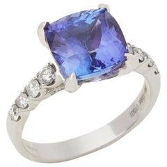 David Jerome Certified 4.28 Carat Cushion Cut Tanzanite and Diamond Ring