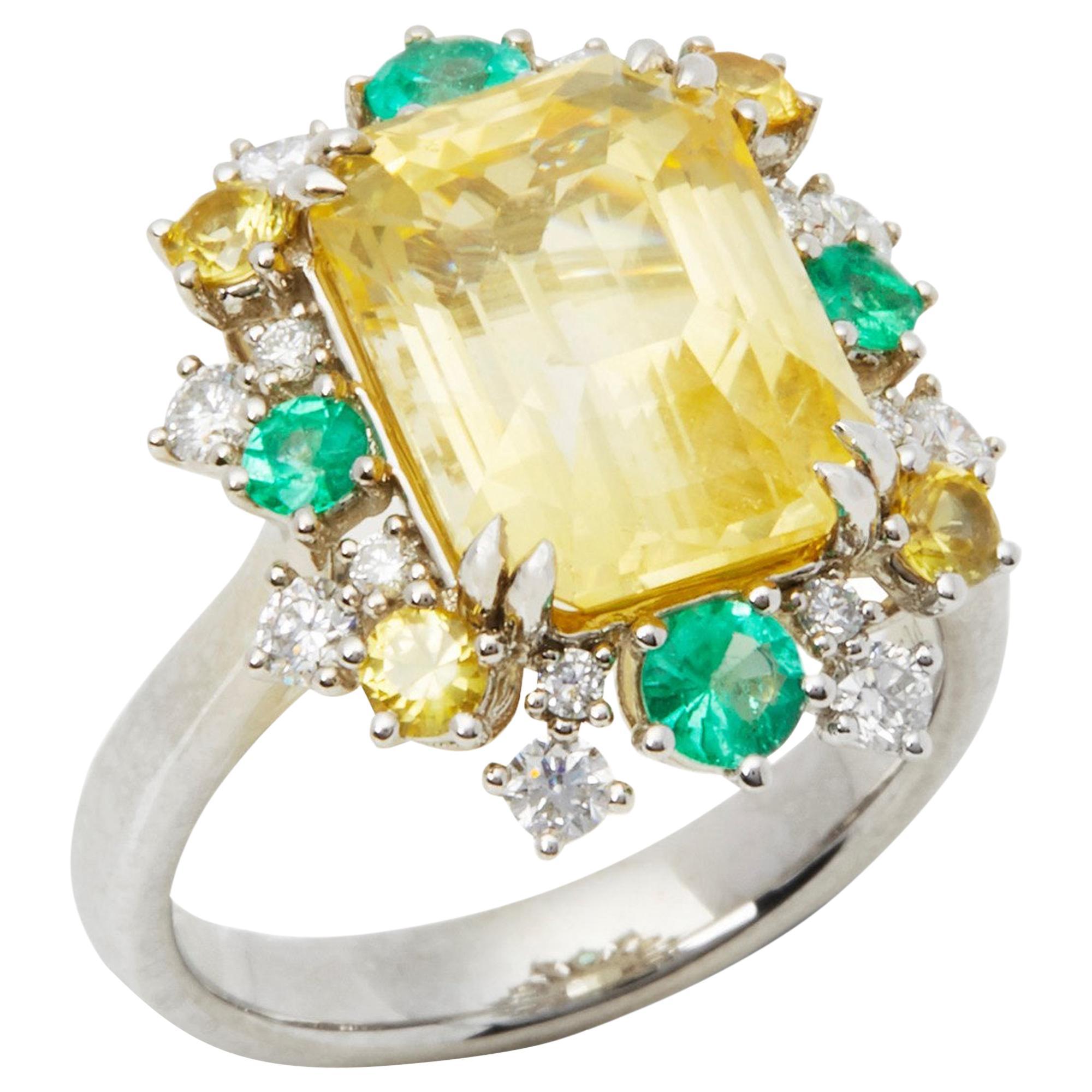 Platinum Yellow Sapphire, Diamond, Yellow Sapphire and Emerald Cluster Ring