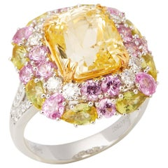 David Jerome Certified 8.14 Carat Untreated Octagonal Cut Yellow Sapphire Ring