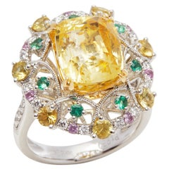 Platinum Yellow Sapphire, Diamond and Mixed Sapphire Cluster Ring