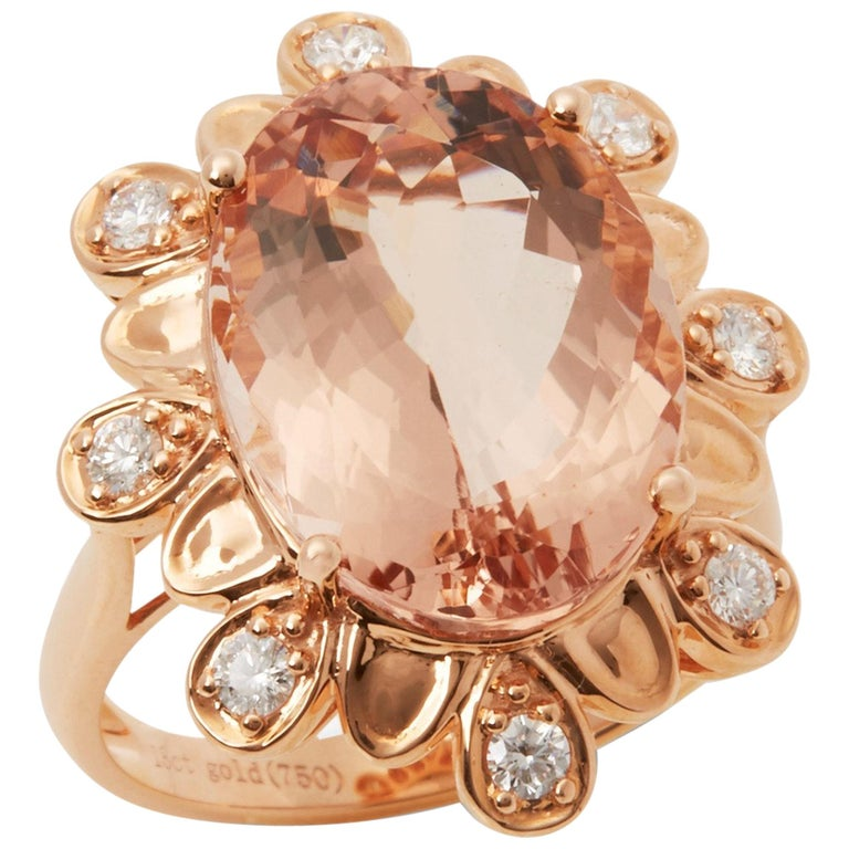 David Jerome Certified 9.28 Carat Untreated Brazillian Oval Cut Morganite Ring For Sale