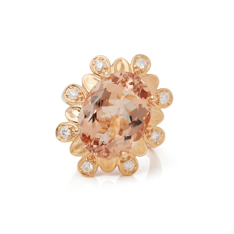 This Ring Designed by David Jerome is from his Private Collection and features One Oval Cut Morganite Sourced in Brazil. Totalling 9.28cts Set with Round Brilliant Cut Diamonds Totalling 0.37cts. Mounted in an 18k Rose Gold Setting. Finger Size UK