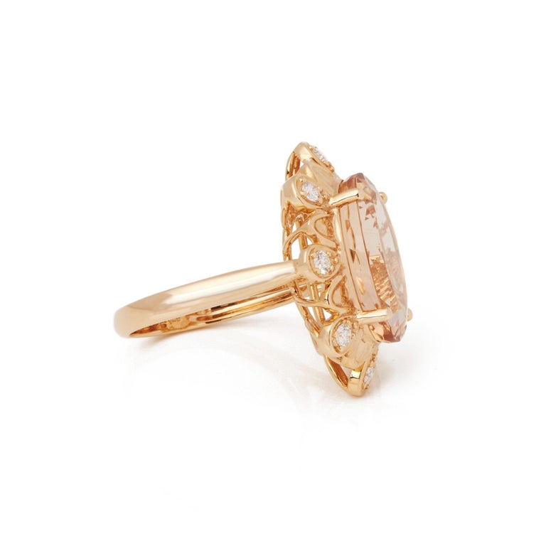 Contemporary David Jerome Certified 9.28 Carat Untreated Brazillian Oval Cut Morganite Ring For Sale