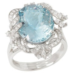 Certified 7.98ct Brazilian Aquamarine and Diamond Platinum Ring
