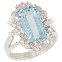 Certified 4.9ct Emerald cut Aquamarine and Diamond Platinum Ring