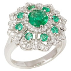 Certified 1.32ct Round Cut Emerald and Diamond Platinum Ring